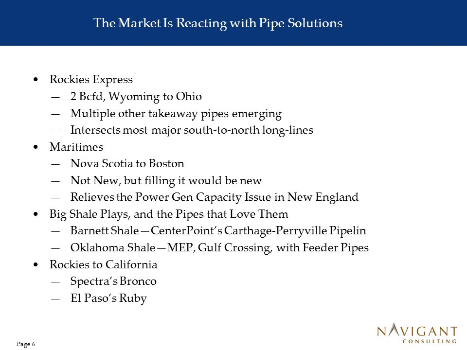 Page 6 The Market Is Reacting with Pipe Solutions Rockies Express —2 Bcfd, Wyoming to Ohio —Multiple other takeaway pipes emerging —Intersects most ma