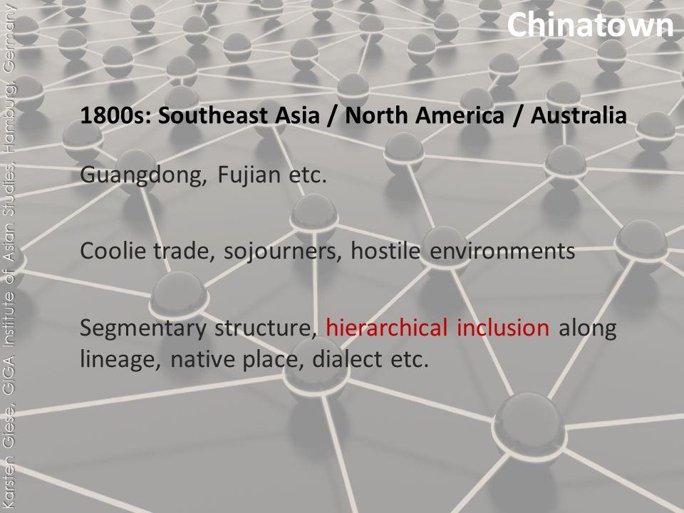 1800s: Southeast Asia / North America / Australia Guangdong, Fujian etc.