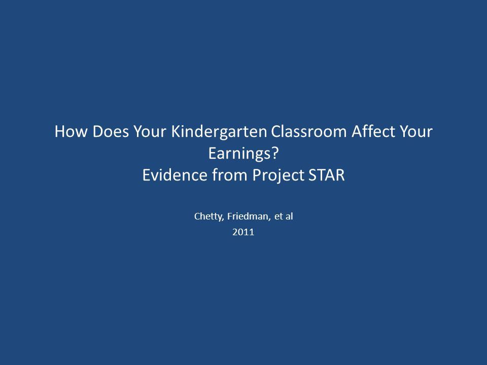 How Does Your Kindergarten Classroom Affect Your Earnings.