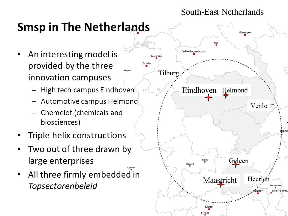 Smsp in The Netherlands An interesting model is provided by the three innovation campuses – High tech campus Eindhoven – Automotive campus Helmond – Chemelot (chemicals and biosciences) Triple helix constructions Two out of three drawn by large enterprises All three firmly embedded in Topsectorenbeleid