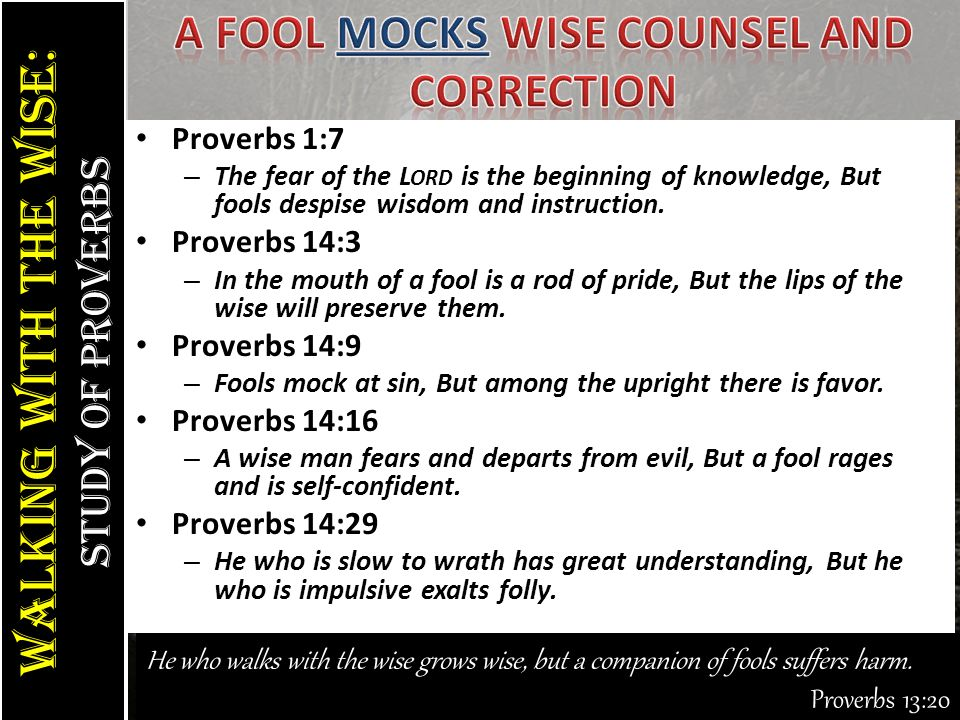 Walking With the Wise: study of Proverbs Walking With the Wise: study of Proverbs He who walks with the wise grows wise, but a companion of fools suffers harm.