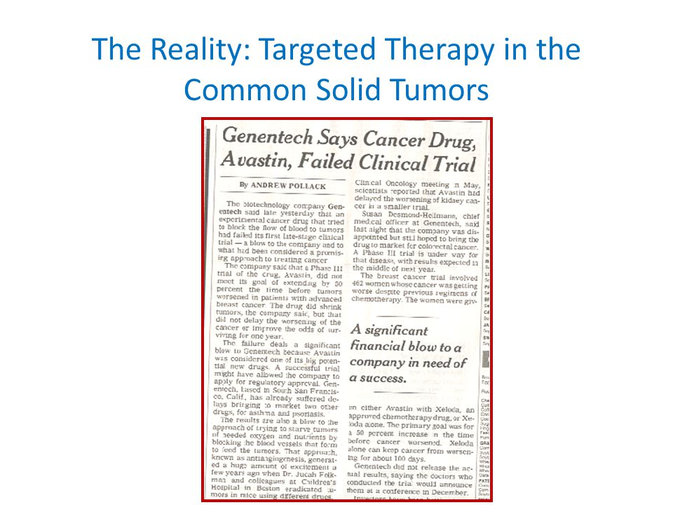Targeted Therapies Vary in Effectiveness: The role of the TARGET CML and Breast Cancer CML Patients Imatinib ~ 90% Response All Breast Cancer Patients Trastuzumab < 10 % Response HER2 + Breast Cancer Patients Trastuzumab ~ 35% Response