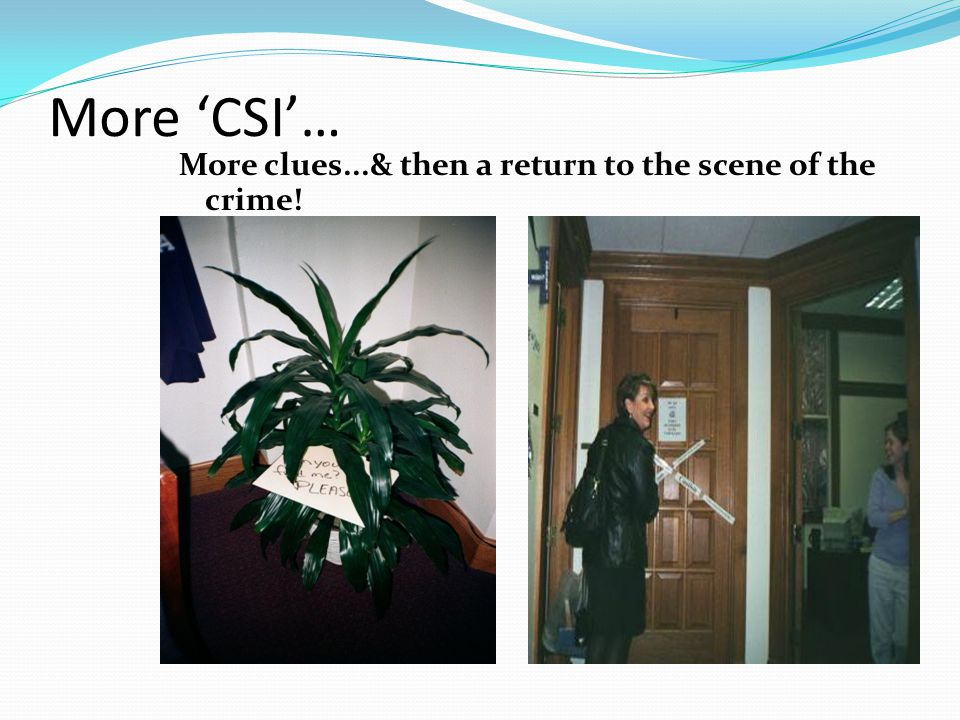 More 'CSI'… More clues...& then a return to the scene of the crime!