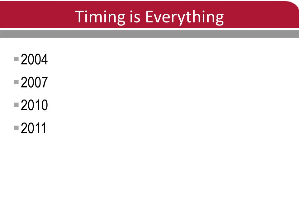 Timing is Everything  2004  2007  2010  2011