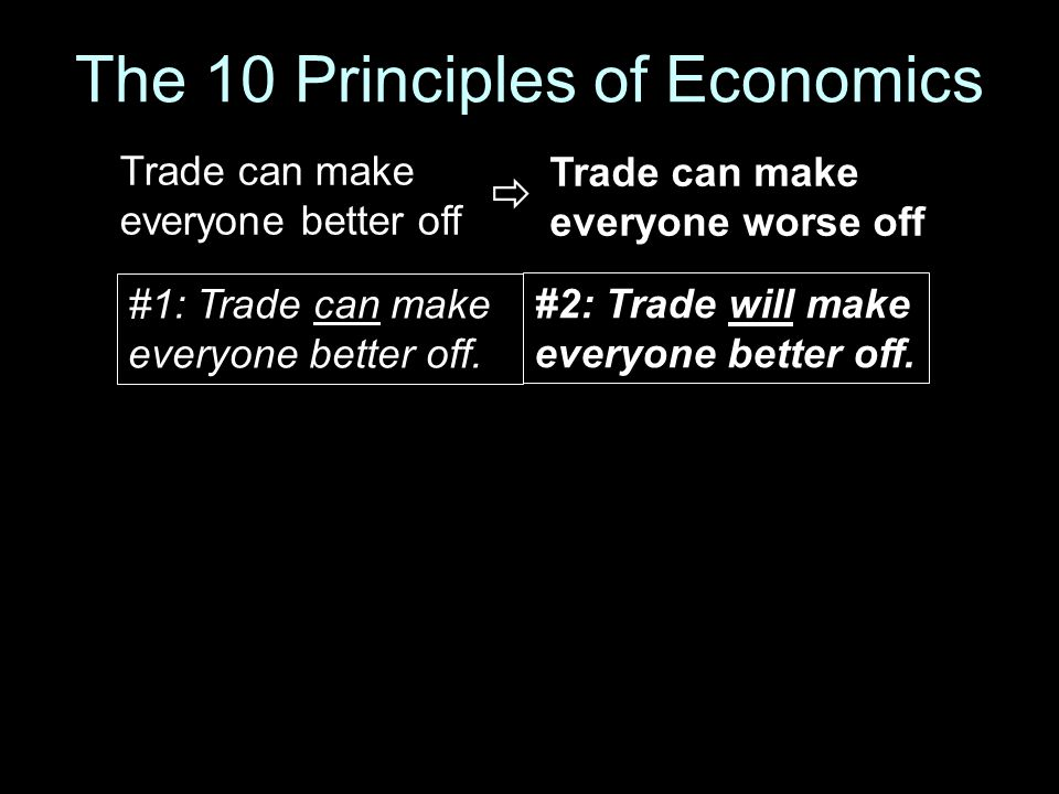 The 10 Principles of Economics #1: Trade can make everyone better off. #2: Trade will make everyone better off. Trade can make everyone better off Tra