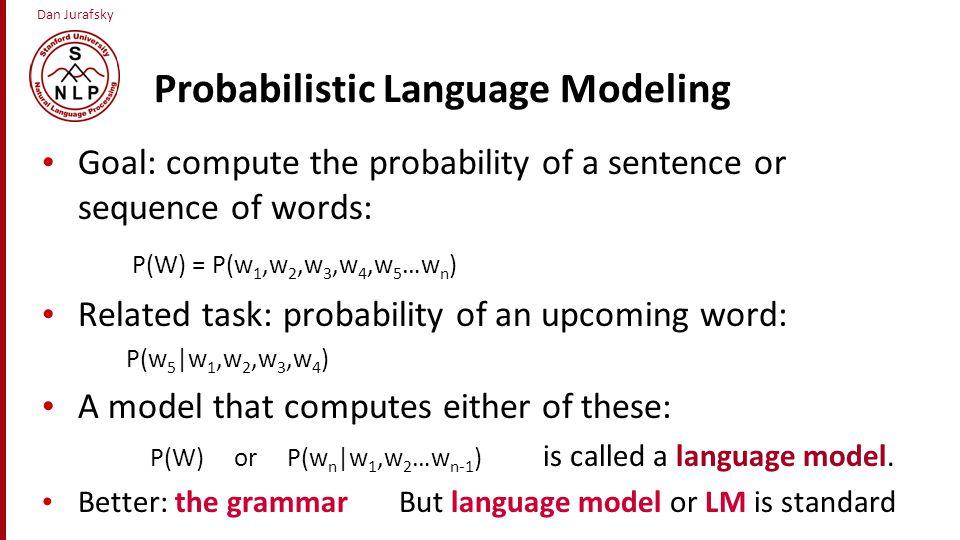 Estimating N-gram Probabilities Language Modeling
