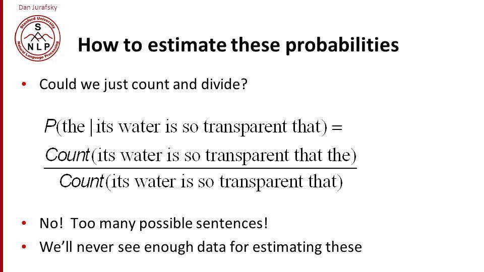 Dan Jurafsky Markov Assumption Simplifying assumption: Or maybe Andrei Markov