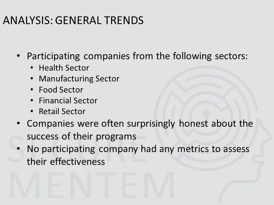 Participating companies from the following sectors: Health Sector Manufacturing Sector Food Sector Financial Sector Retail Sector Companies were often surprisingly honest about the success of their programs No participating company had any metrics to assess their effectiveness ANALYSIS: GENERAL TRENDS