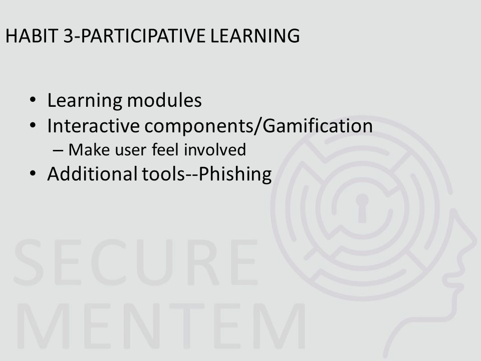 Learning modules Interactive components/Gamification – Make user feel involved Additional tools--Phishing HABIT 3-PARTICIPATIVE LEARNING