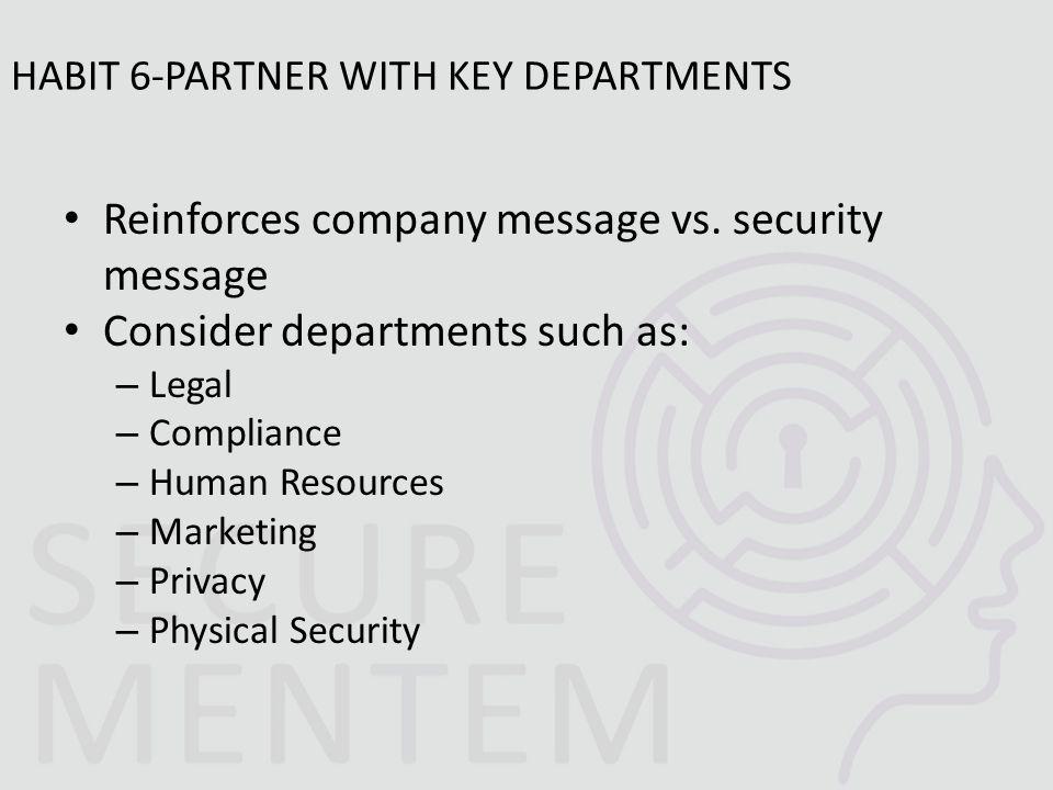 Reinforces company message vs.