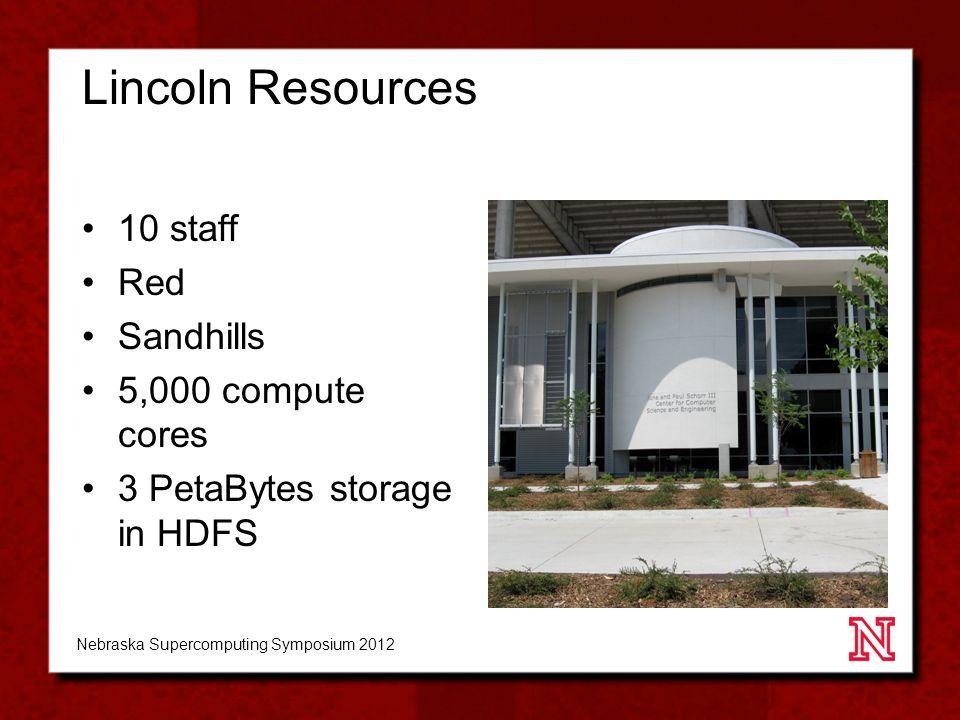 Lincoln Resources 10 staff Red Sandhills 5,000 compute cores 3 PetaBytes storage in HDFS Nebraska Supercomputing Symposium 2012