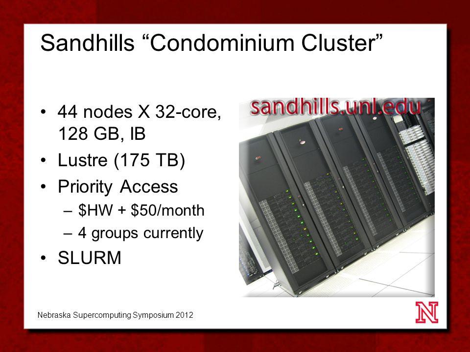 Sandhills Condominium Cluster 44 nodes X 32-core, 128 GB, IB Lustre (175 TB) Priority Access –$HW + $50/month –4 groups currently SLURM Nebraska Supercomputing Symposium 2012