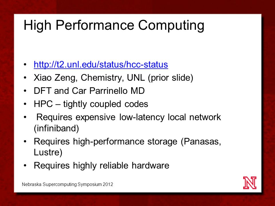 HCC personnel timeline Nebraska Supercomputing Symposium 2012