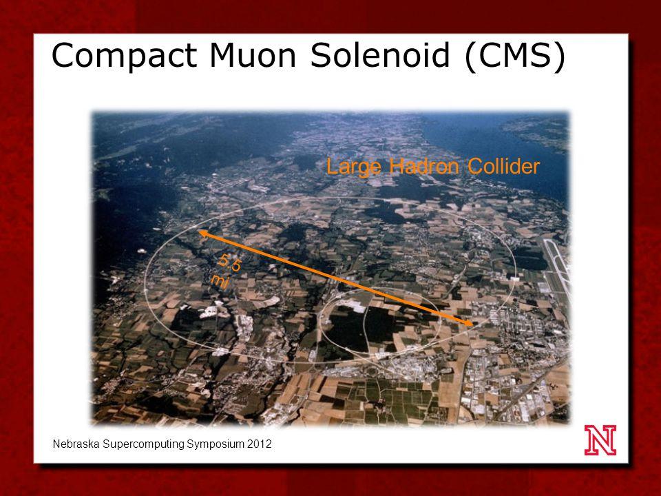 Compact Muon Solenoid (CMS) 5.5 mi Large Hadron Collider Nebraska Supercomputing Symposium 2012