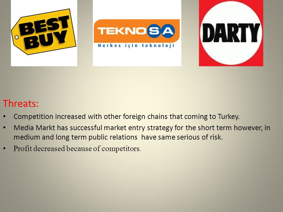 Threats: Competition increased with other foreign chains that coming to Turkey.