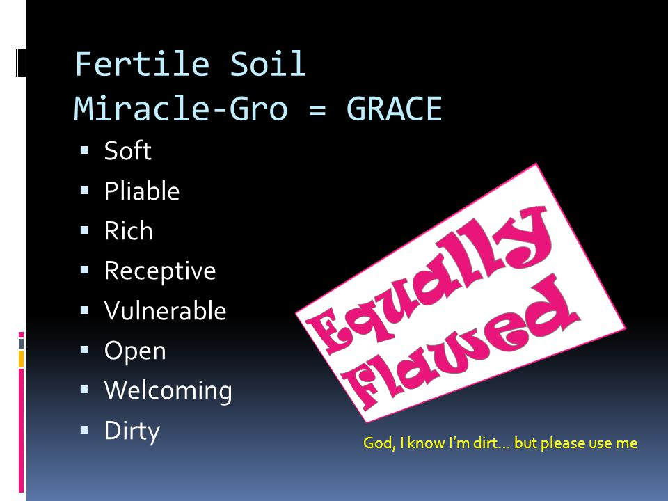 Fertile Soil Miracle-Gro = GRACE  Soft  Pliable  Rich  Receptive  Vulnerable  Open  Welcoming  Dirty God, I know I'm dirt… but please use me