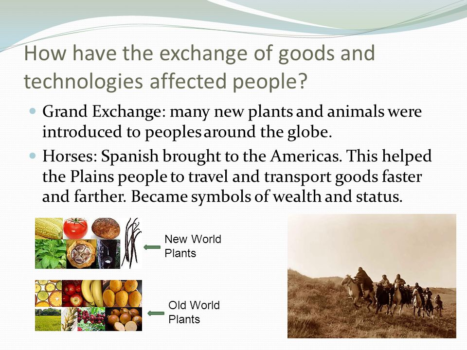How have the exchange of goods and technologies affected people? Grand Exchange: many new plants and animals were introduced to peoples around the glo