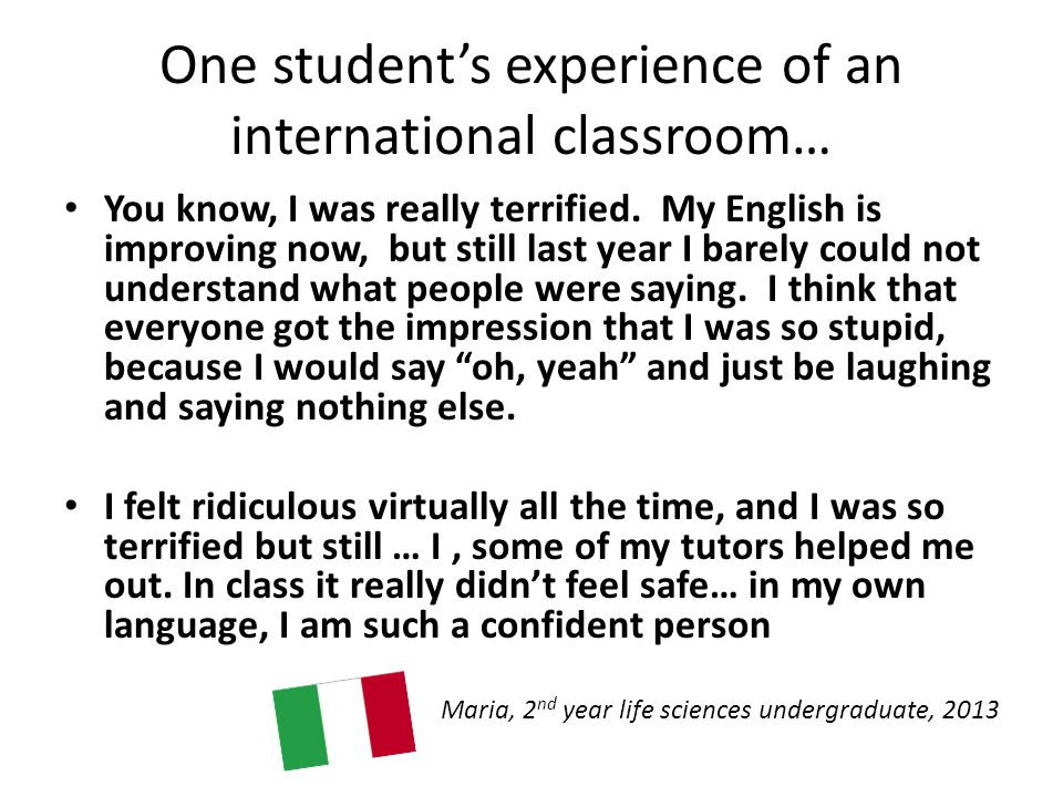 One student's experience of an international classroom… You know, I was really terrified.