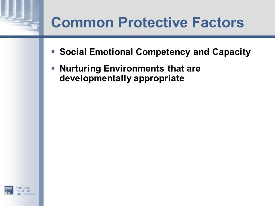 Common Protective Factors  Social Emotional Competency and Capacity  Nurturing Environments that are developmentally appropriate