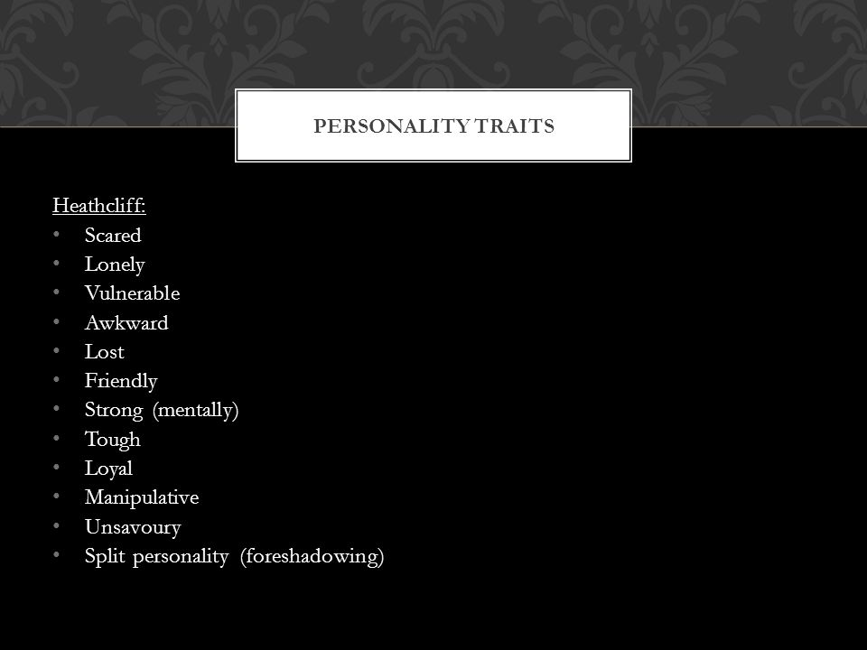 Cathy: Violent and destructive Hindley: Strong loathing towards Heathcliff PERSONALITY TRAITS