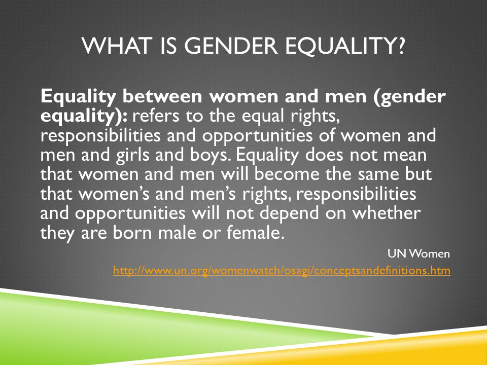 WHAT IS GENDER EQUALITY.
