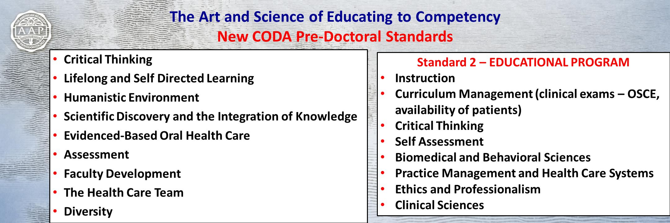 The Art and Science of Educating to Competency New CODA Pre-Doctoral Standards Critical Thinking Lifelong and Self Directed Learning Humanistic Environment Scientific Discovery and the Integration of Knowledge Evidenced-Based Oral Health Care Assessment Faculty Development The Health Care Team Diversity Standard 2 – EDUCATIONAL PROGRAM Instruction Curriculum Management (clinical exams – OSCE, availability of patients) Critical Thinking Self Assessment Biomedical and Behavioral Sciences Practice Management and Health Care Systems Ethics and Professionalism Clinical Sciences