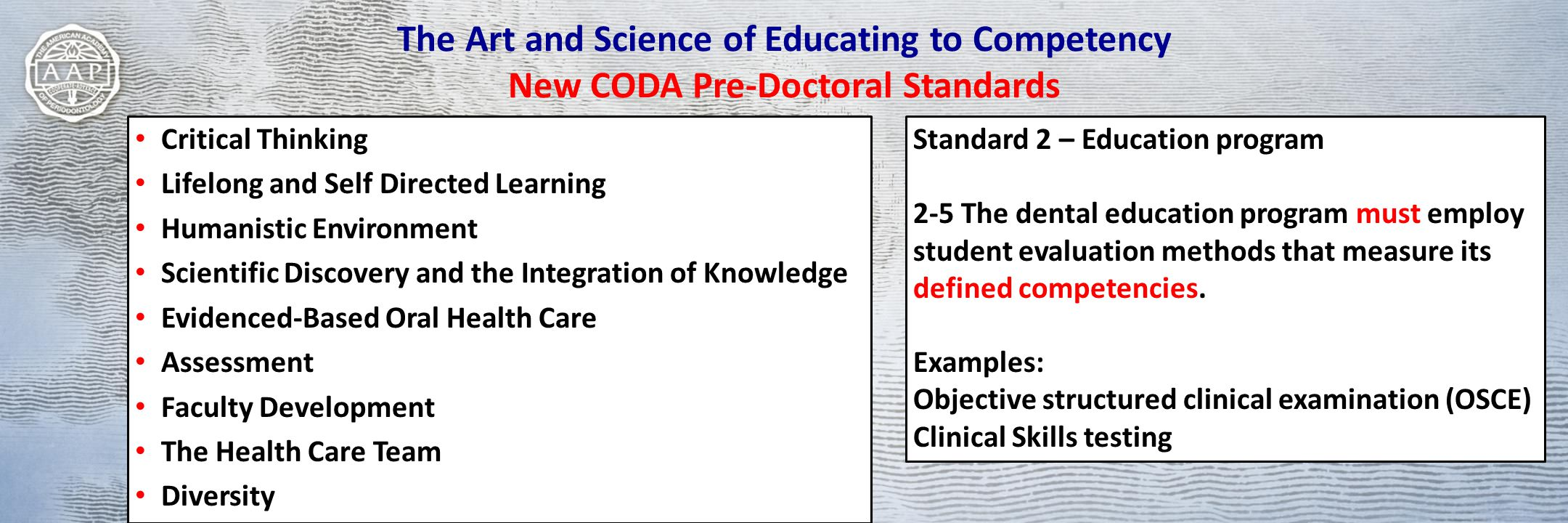 The Art and Science of Educating to Competency New CODA Pre-Doctoral Standards Critical Thinking Lifelong and Self Directed Learning Humanistic Environment Scientific Discovery and the Integration of Knowledge Evidenced-Based Oral Health Care Assessment Faculty Development The Health Care Team Diversity Standard 2 – Education program 2-5 The dental education program must employ student evaluation methods that measure its defined competencies.