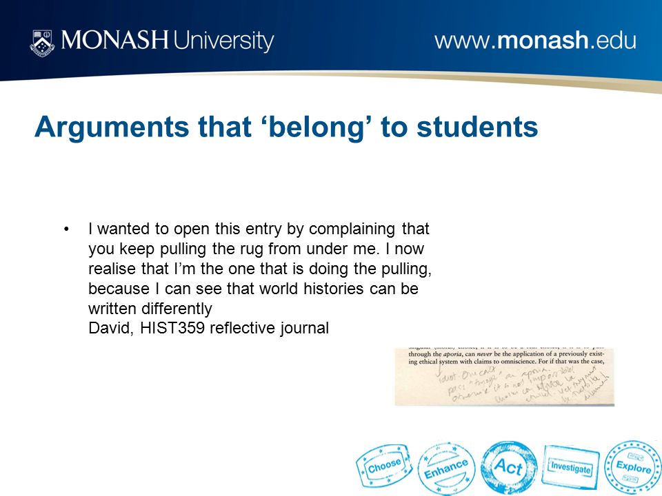 Arguments that 'belong' to students I wanted to open this entry by complaining that you keep pulling the rug from under me.