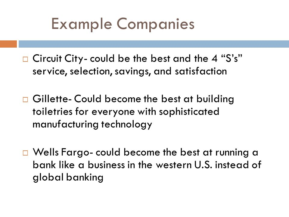 Example Companies  Circuit City- could be the best and the 4 S's service, selection, savings, and satisfaction  Gillette- Could become the best at building toiletries for everyone with sophisticated manufacturing technology  Wells Fargo- could become the best at running a bank like a business in the western U.S.