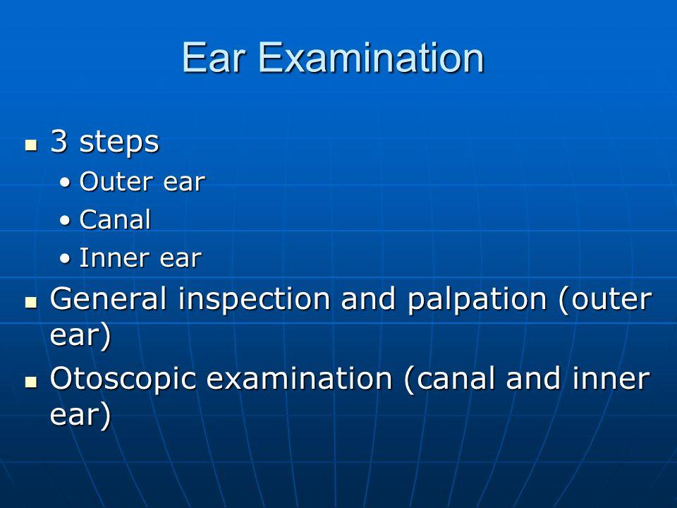 Ear Examination 3 steps 3 steps Outer earOuter ear CanalCanal Inner earInner ear General inspection and palpation (outer ear) General inspection and p