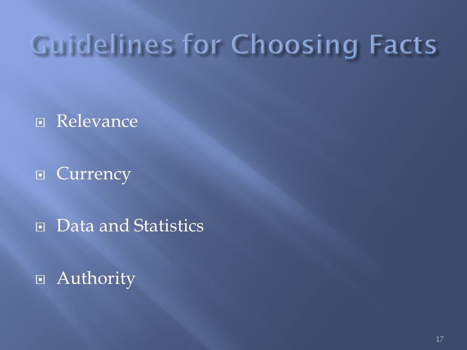  Relevance  Currency  Data and Statistics  Authority 17