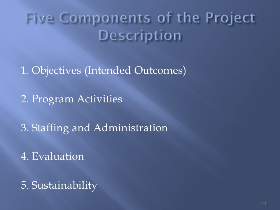 1. Objectives (Intended Outcomes) 2. Program Activities 3.