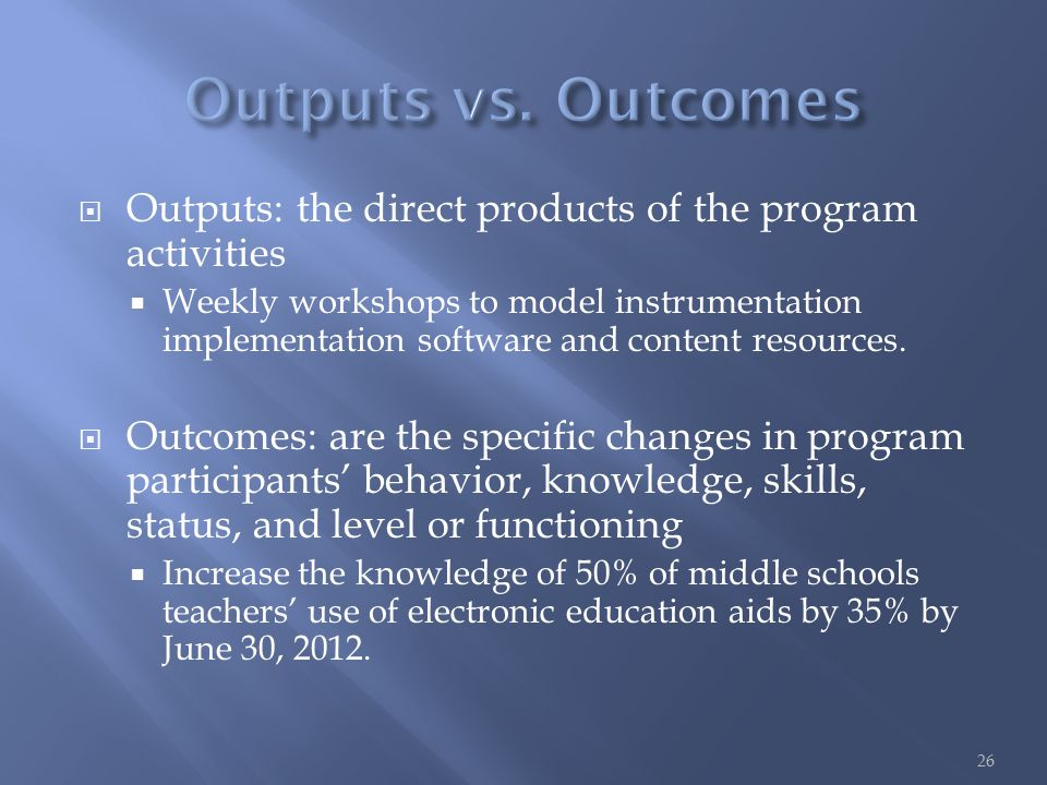  Outputs: the direct products of the program activities  Weekly workshops to model instrumentation implementation software and content resources.