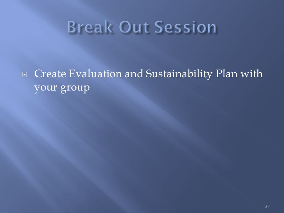  Create Evaluation and Sustainability Plan with your group 37