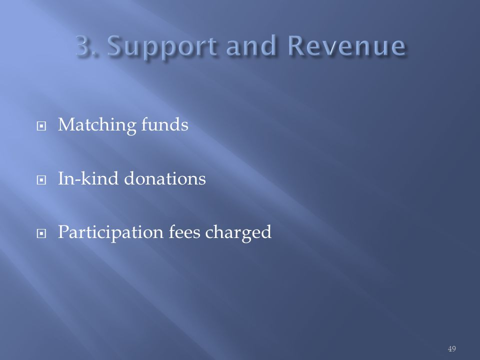  Matching funds  In-kind donations  Participation fees charged 49