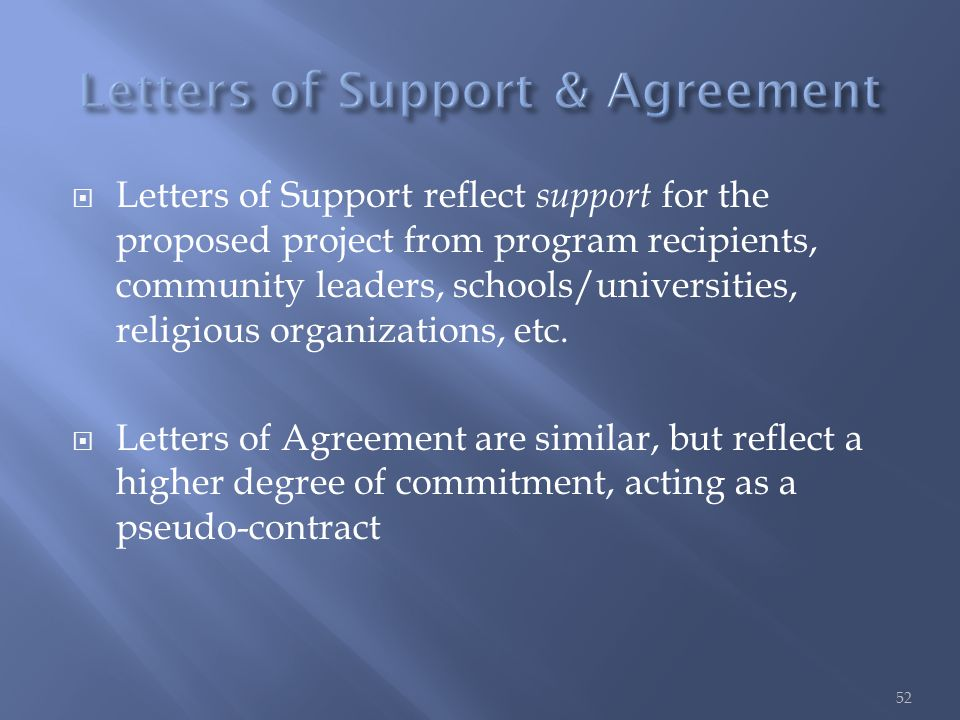  Letters of Support reflect support for the proposed project from program recipients, community leaders, schools/universities, religious organizations, etc.