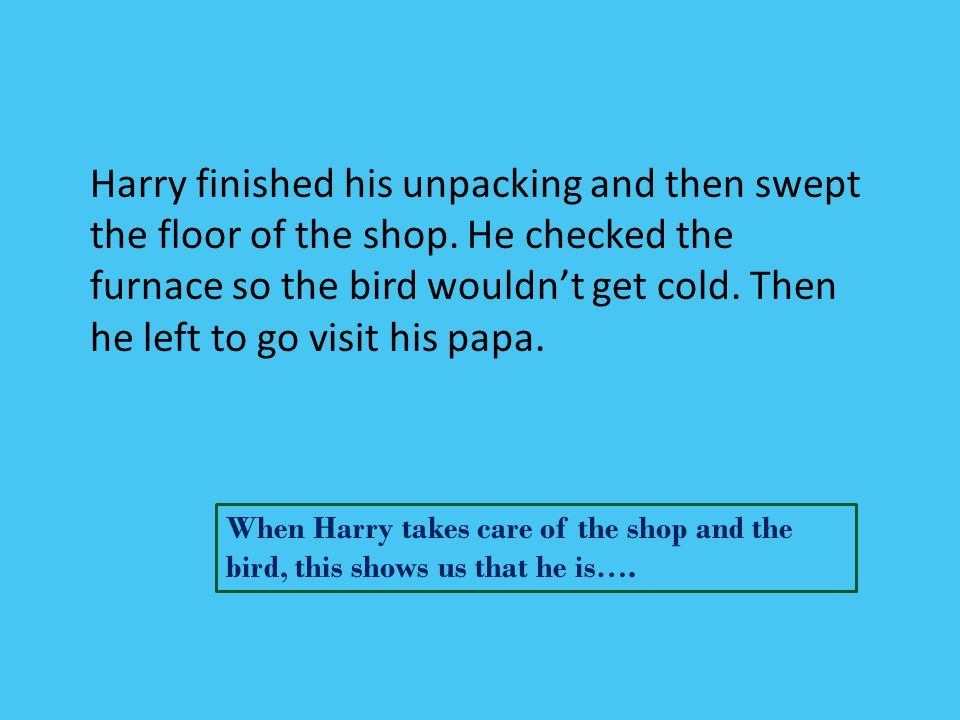 Harry finished his unpacking and then swept the floor of the shop. He checked the furnace so the bird wouldn't get cold. Then he left to go visit his