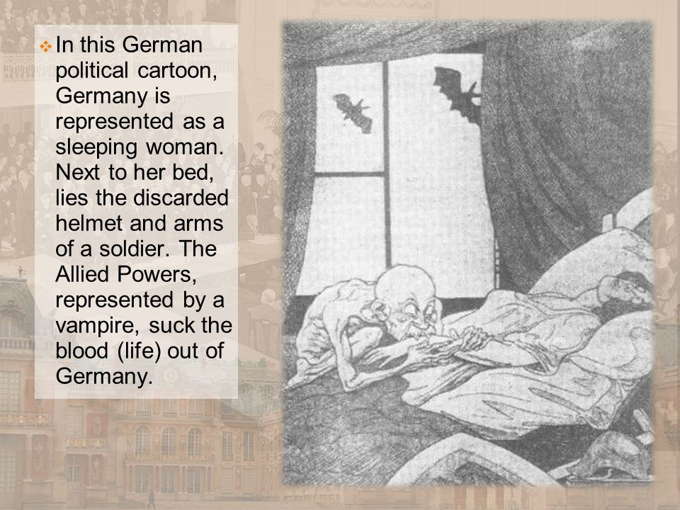  In this German political cartoon, Germany is represented as a sleeping woman. Next to her bed, lies the discarded helmet and arms of a soldier. The