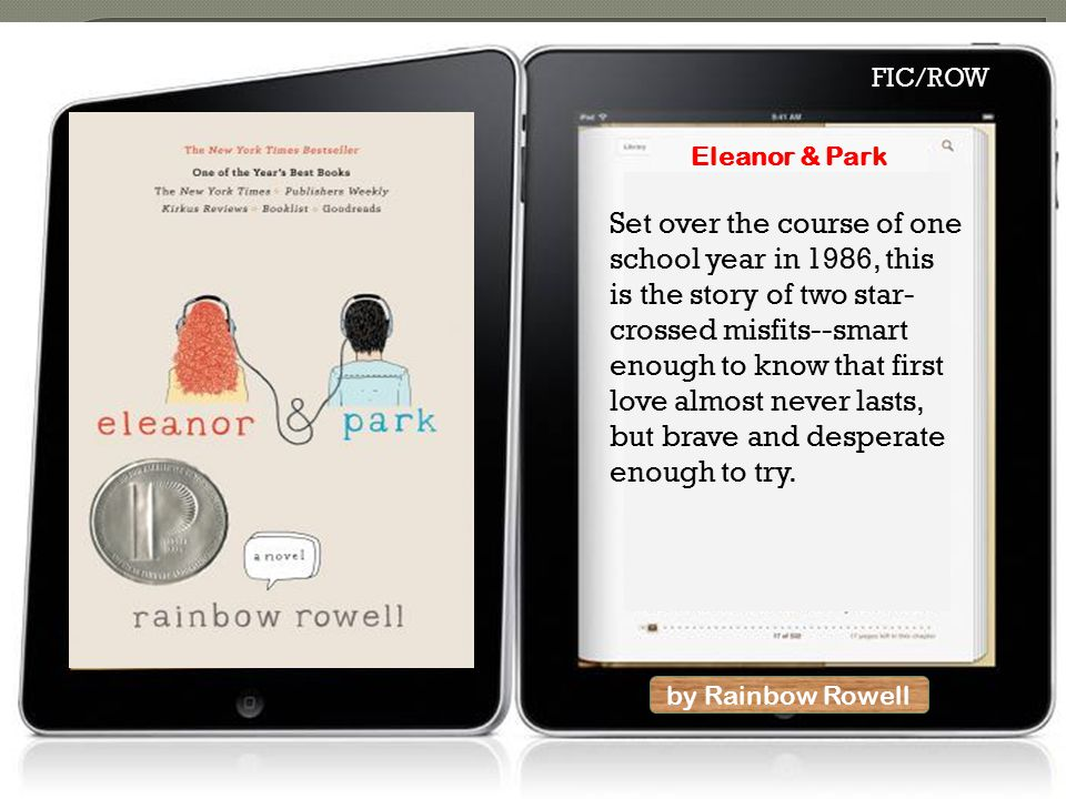 by Rainbow Rowell Eleanor & Park Set over the course of one school year in 1986, this is the story of two star- crossed misfits--smart enough to know that first love almost never lasts, but brave and desperate enough to try.