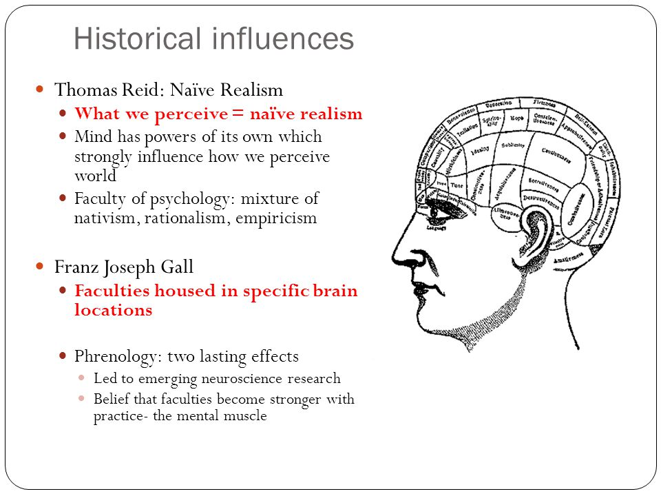 Historical influences Thomas Reid: Naïve Realism What we perceive = naïve realism Mind has powers of its own which strongly influence how we perceive world Faculty of psychology: mixture of nativism, rationalism, empiricism Franz Joseph Gall Faculties housed in specific brain locations Phrenology: two lasting effects Led to emerging neuroscience research Belief that faculties become stronger with practice- the mental muscle