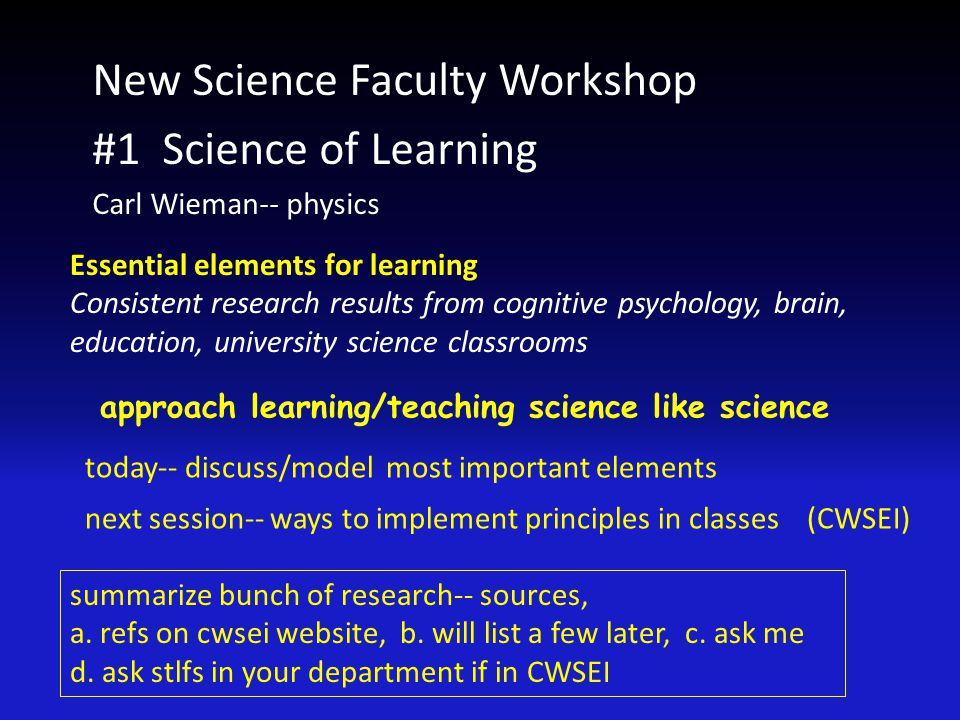 Most new faculty waste a lot of time on teaching today and next week, helping you avoid that Lots of time preparing lectures: details of content (studying in depth), delivery, notes, worrying about avoiding student conflict,...) little difference to student learning seven principles of learning (from research) ~90% of what matters