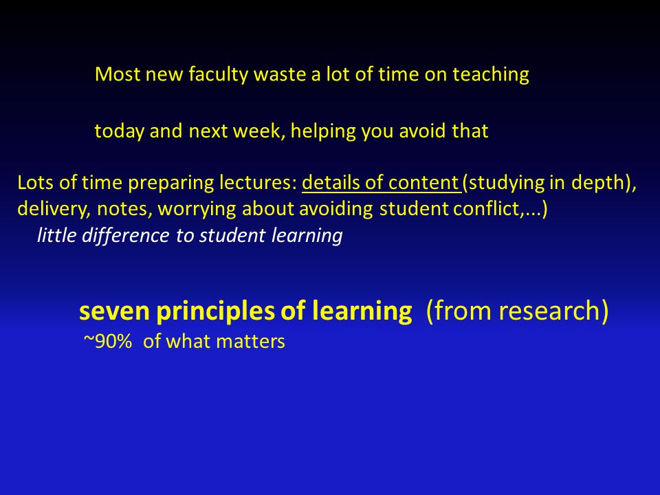 Most new faculty waste a lot of time on teaching today and next week, helping you avoid that Lots of time preparing lectures: details of content (stud