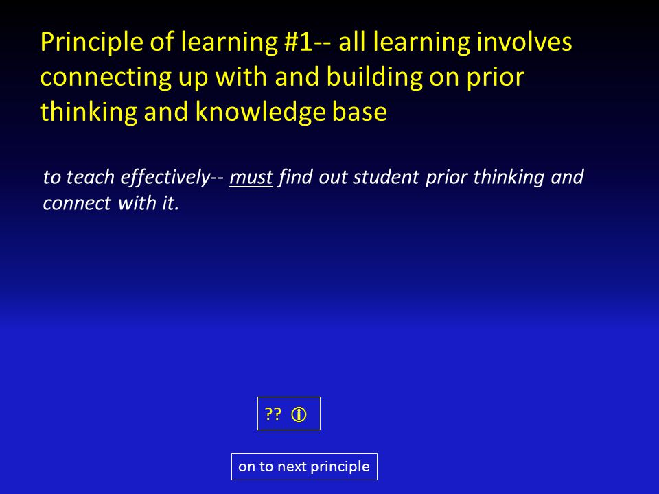 Principle of learning #1-- all learning involves connecting up with and building on prior thinking and knowledge base to teach effectively-- must find out student prior thinking and connect with it.