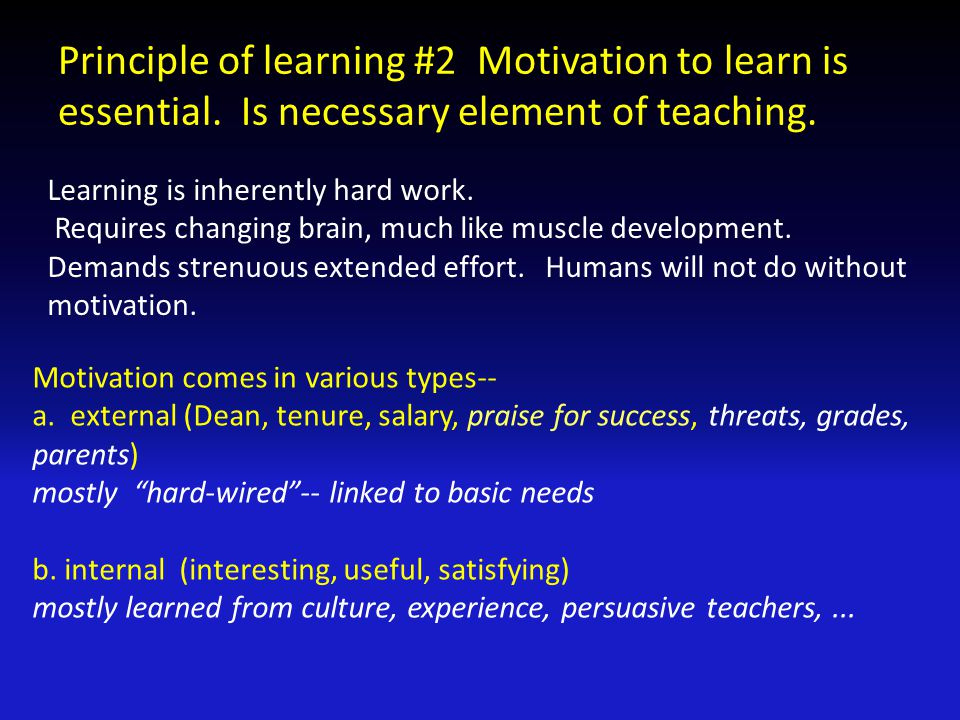 a few relevant things we know about motivation 1.Is complex subject 2.