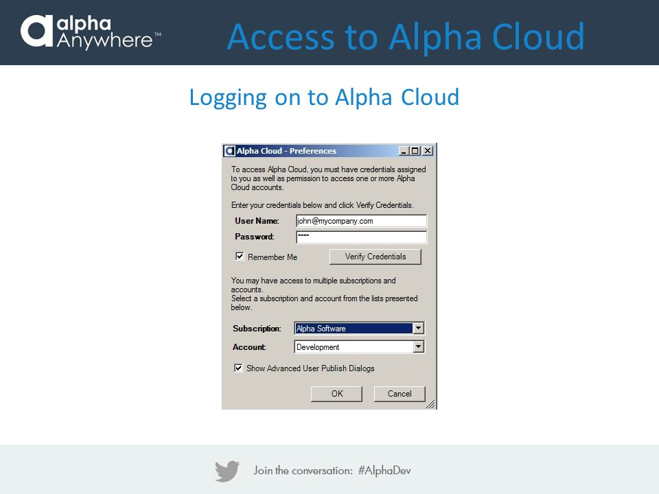 Access to Alpha Cloud Logging on to Alpha Cloud