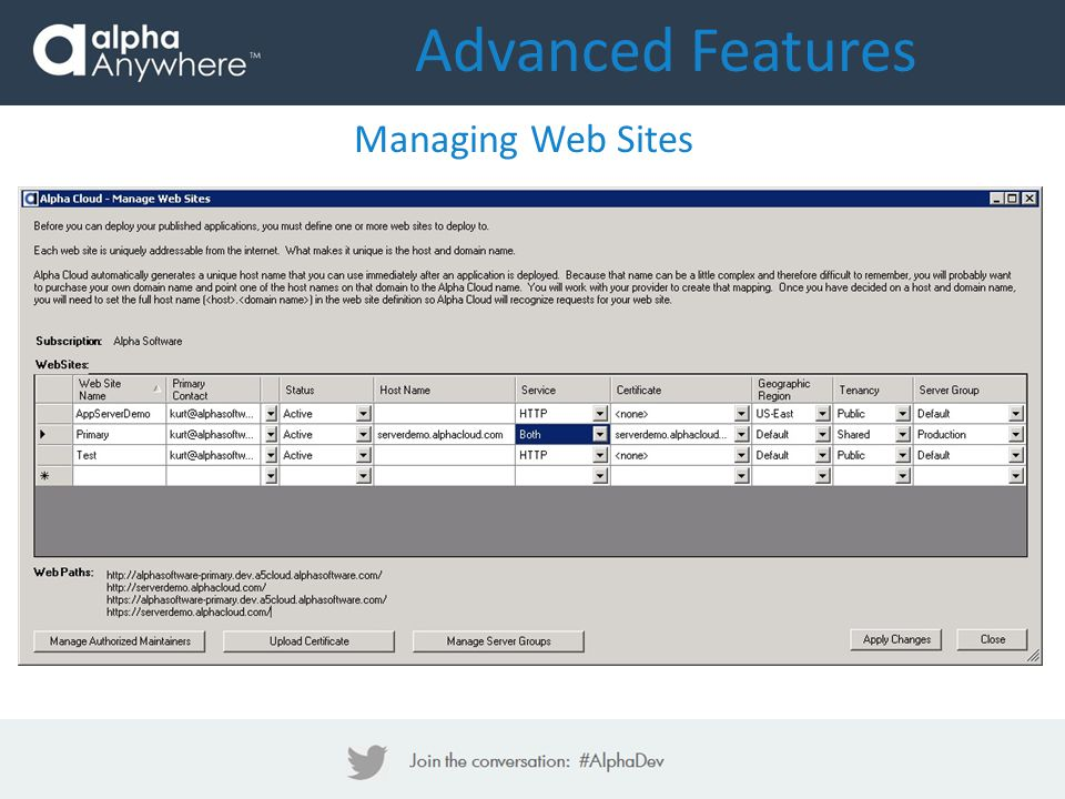 Advanced Features Managing Web Sites
