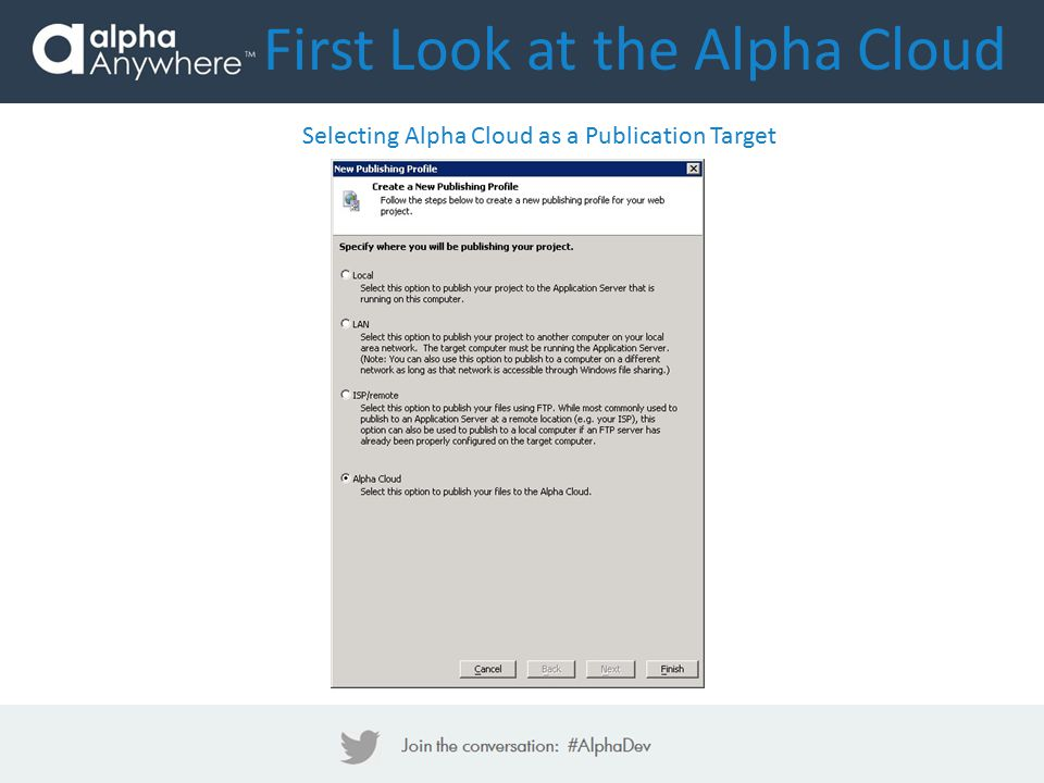 First Look at the Alpha Cloud Selecting Alpha Cloud as a Publication Target