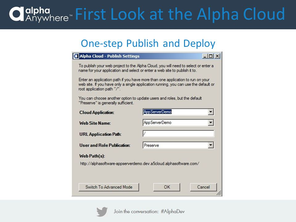 First Look at the Alpha Cloud One-step Publish and Deploy