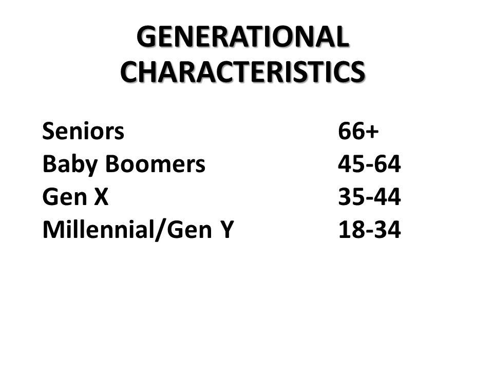 Seniors66+ Baby Boomers45-64 Gen X35-44 Millennial/Gen Y18-34 GENERATIONAL CHARACTERISTICS