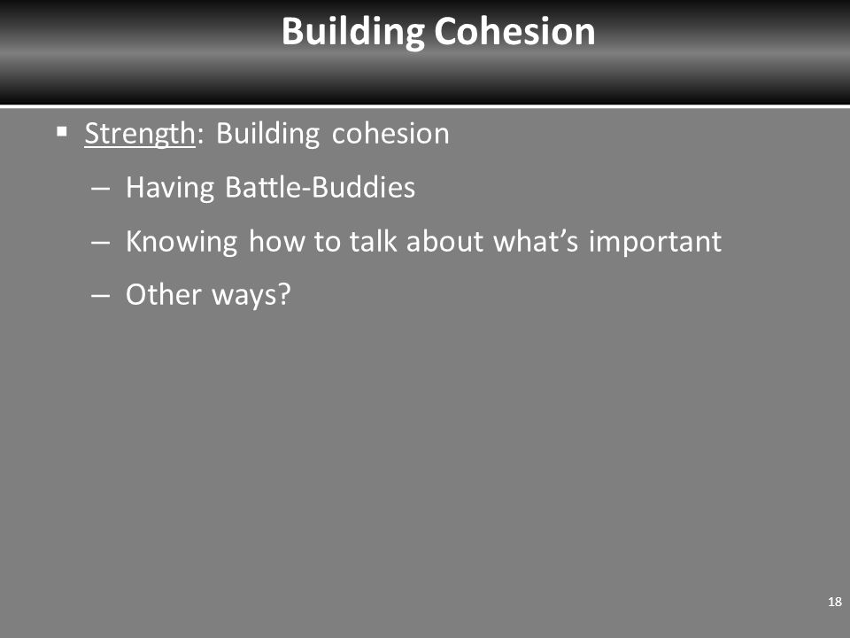  Strength: Building cohesion – Having Battle-Buddies – Knowing how to talk about what's important – Other ways.